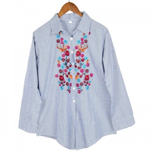 Embroidered striped formal shirt