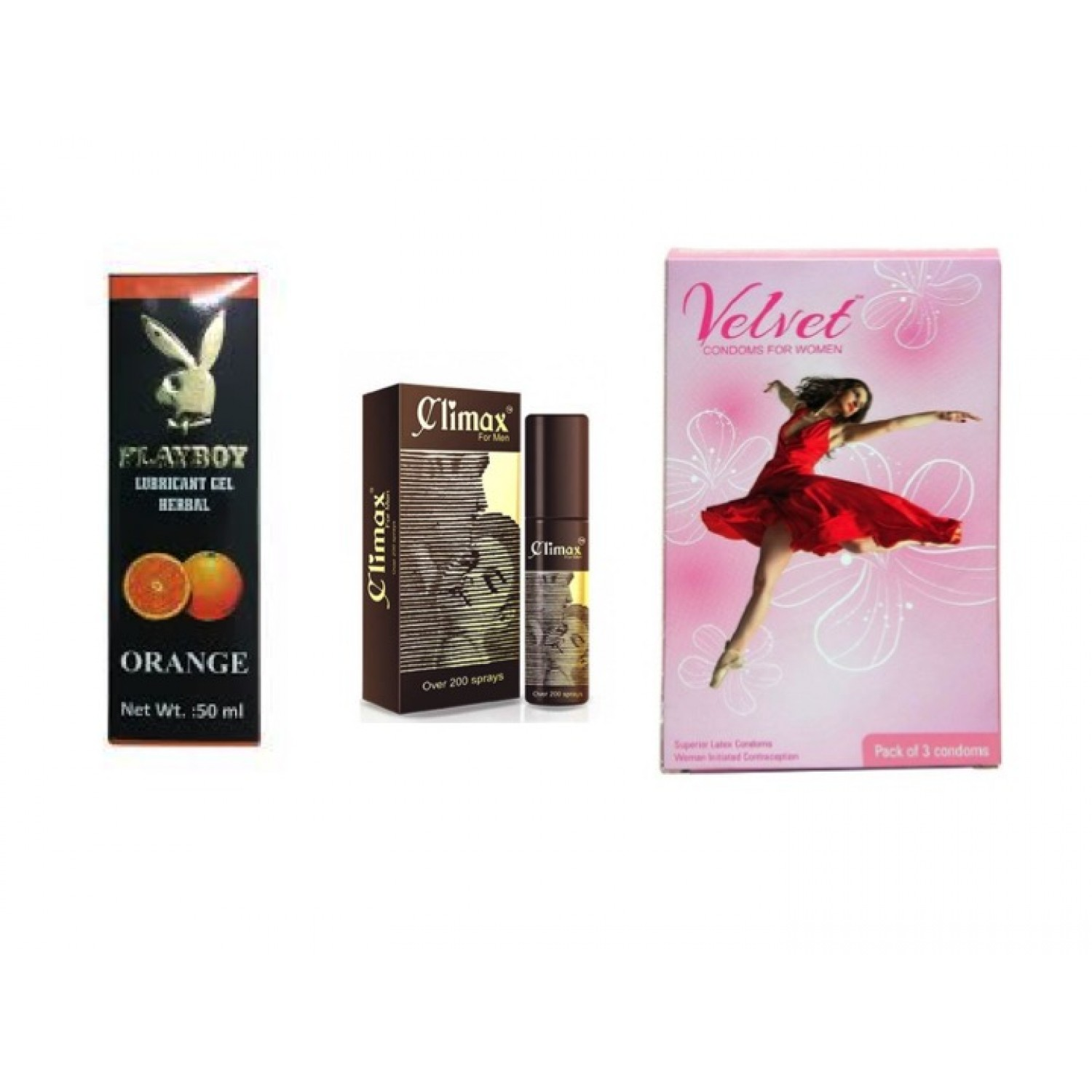 DELAY SPRAY - Combo of playboy lubes (any flavour 50ml) , climax spray, Female velvet condom