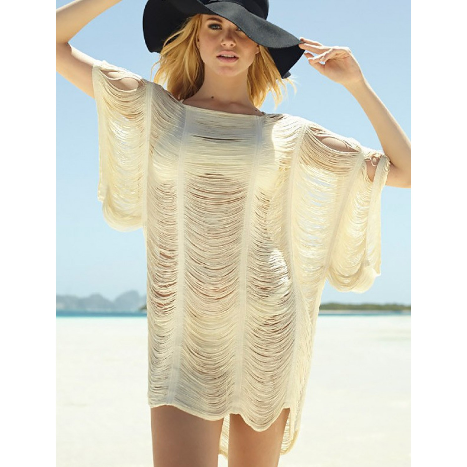 88f39353167 Lace Cut Out Shoulder Beach Cover Up