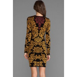Gojilove Gold Vines Printed Long-sleeve Mini Dress