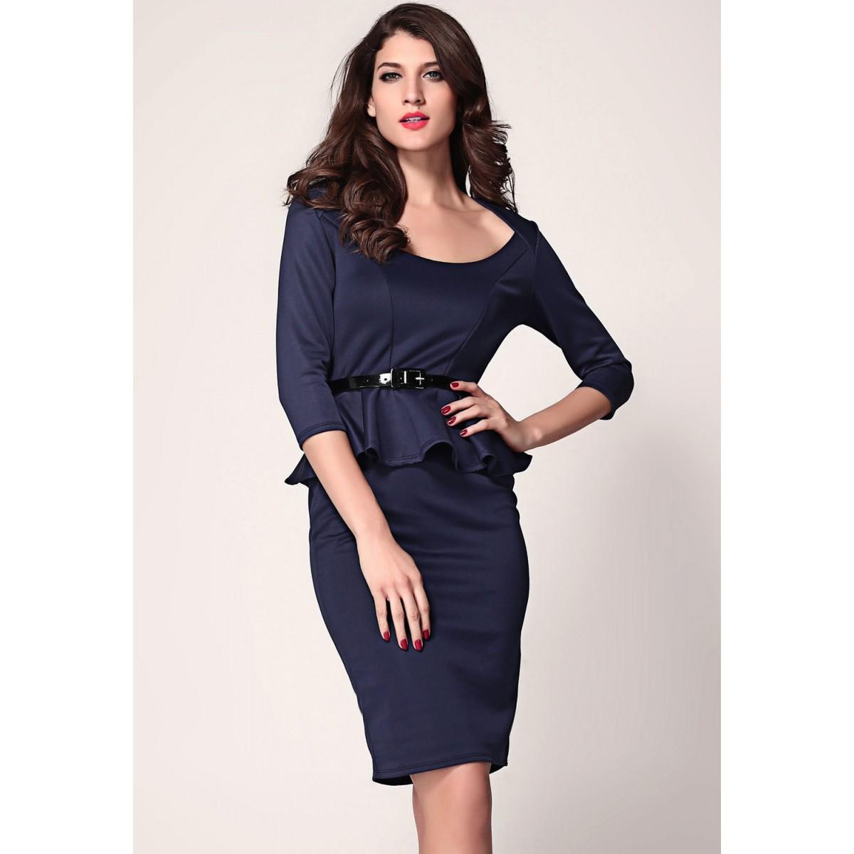 Gojilove Blue Long Sleeve Belted Peplum Midi Dress