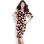 Gojilove Black V Back Half Sleeves Floral Midi Dress