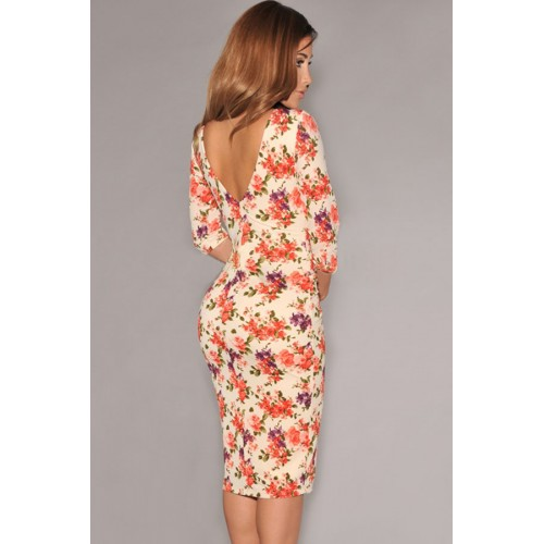 Gojilove Cream V Back Half Sleeves Floral Midi Dress