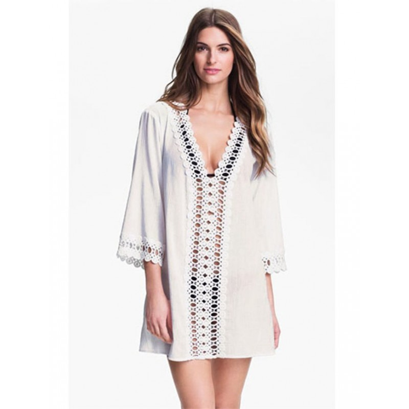 Crochet Trim Coverup Dress