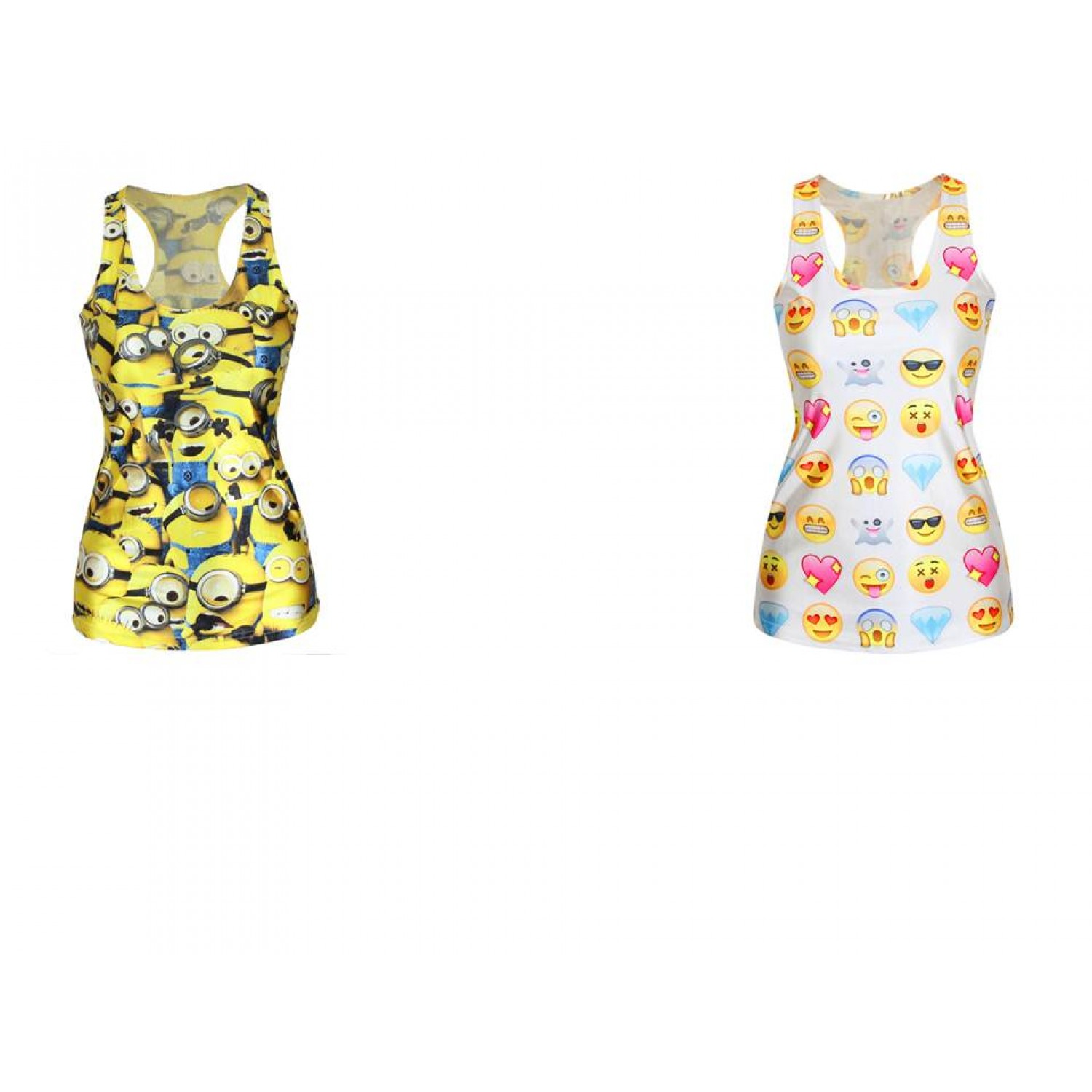 A combo pack of Gojilove Despicable Me minions yellow + Emoji Print Tank  top