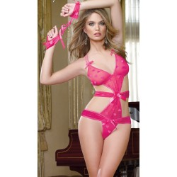 Heart Jacquard Stretch Mesh Teddy