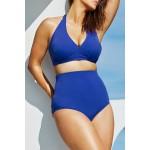 Gojilove Solid Blue High-waisted Halter Bikini Swimsuit-XXXL