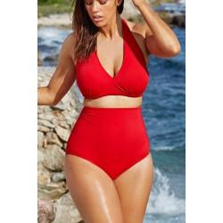 Gojilove Solid Red High-waisted Halter Bikini Swimsuit-XXXL