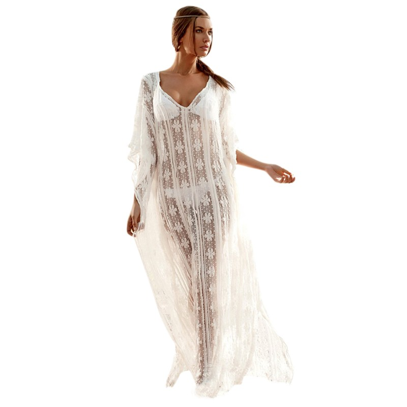 gojilove White Snowflake Beach Kaftan ( fit for all)