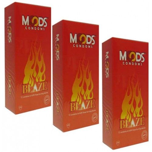 Moods Blaze condoms ( Dotted with warming lube) of 12's - Pack of 2