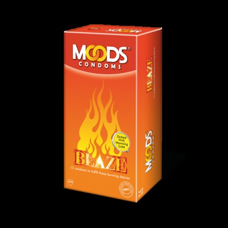 Moods Blaze condoms ( Dotted with warming lube) of 12's
