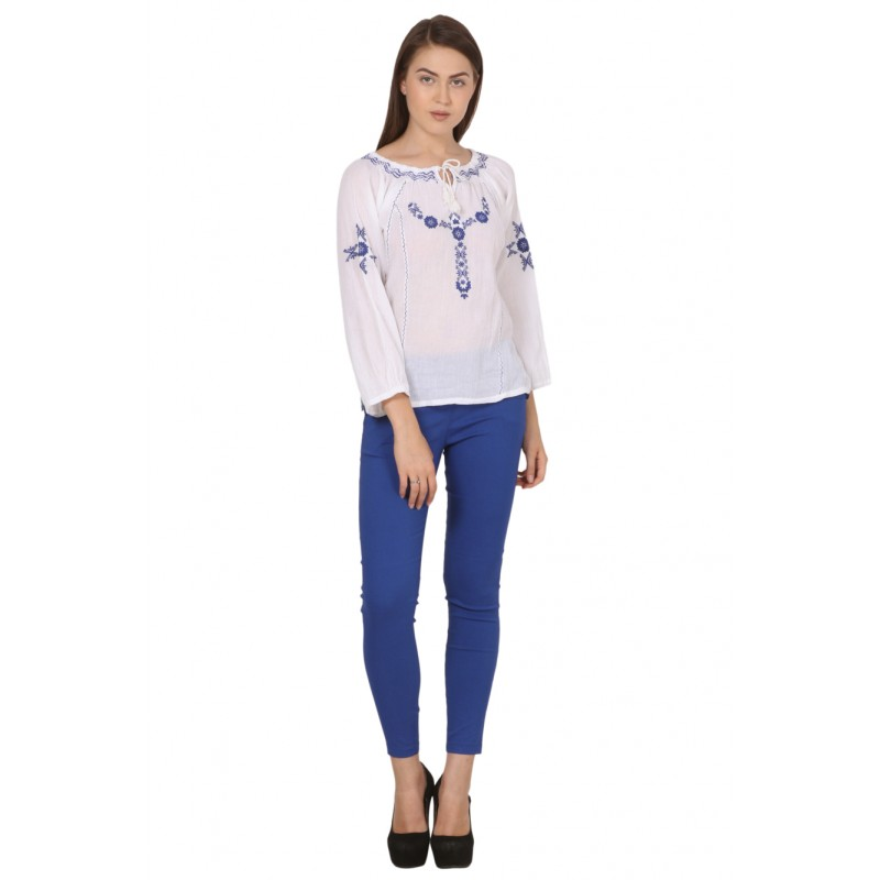 Pearl Blush summer Blouse white with blue
