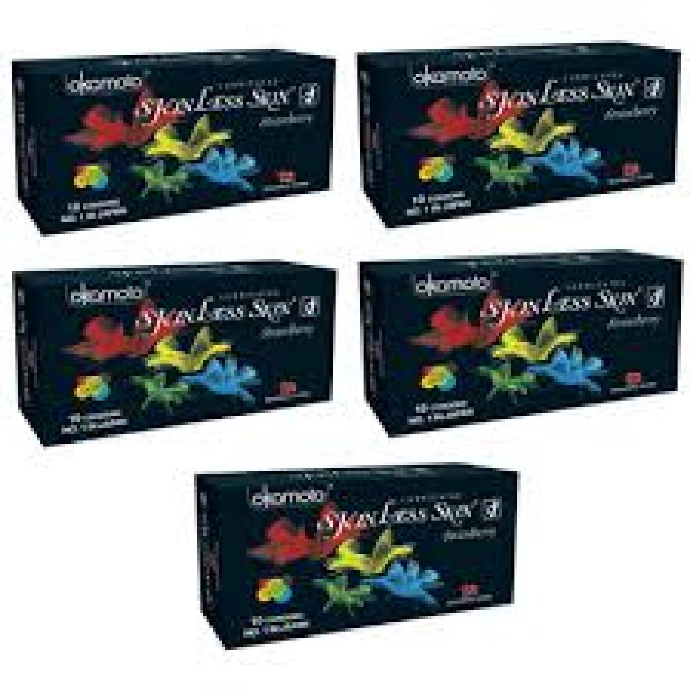 4 Honeymoon combo pack of flavored okamato condoms - Strawberry (4 Packs of 10s)