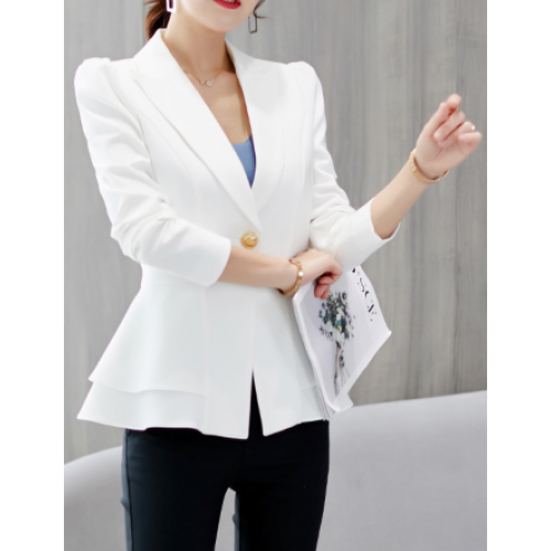 Solid Lapel Blazer with Double frill waist